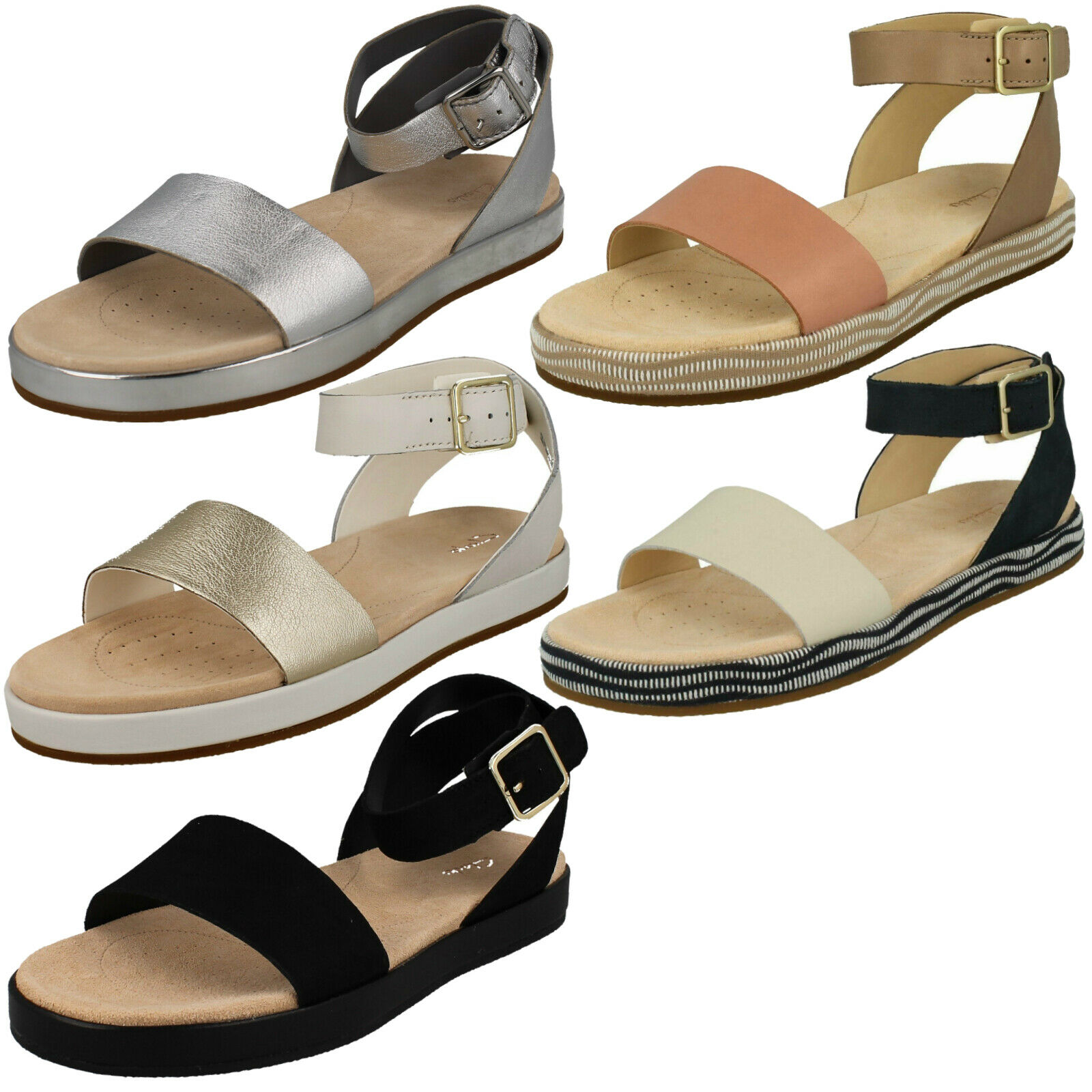 LADIES CLARKS BOTANIC IVY LEATHER ANKLE STRAP FLAT SUMMER CASUAL SANDALS Größe