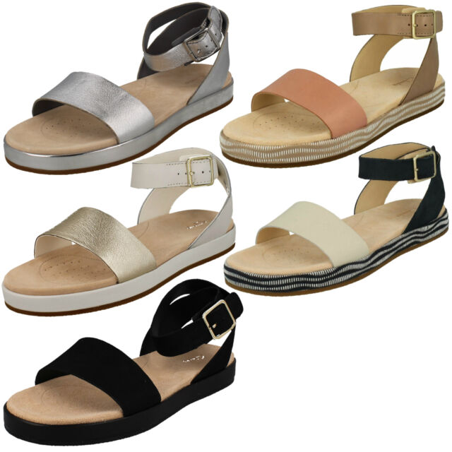 LADIES CLARKS BOTANIC IVY LEATHER ANKLE STRAP FLAT SUMMER CASUAL SANDALS SIZE
