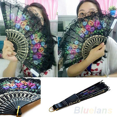 Cool Chic Spanish Flower Lace Folding Hand Dancing Wedding Party Decor Fan B88U