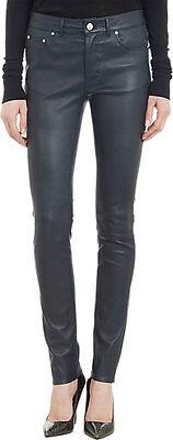 Diplomatico Navy Blue Genuine Lambskin Leather Skinny Pants Seamed Mid Rise Cinque Tasche-mostra Il Titolo Originale Dolorante