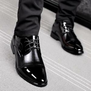 Mens Patent Leather Oxford Lace Up Point Toe Formal Wedding Dress ...