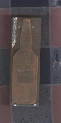 Old Printing Block Metal Wood Hess Klime Root Hair Oil t