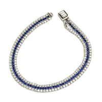 14k White Vermeil 3 Row Sapphire & Clear C.z. Meleestone Push Lock Bracelet 925