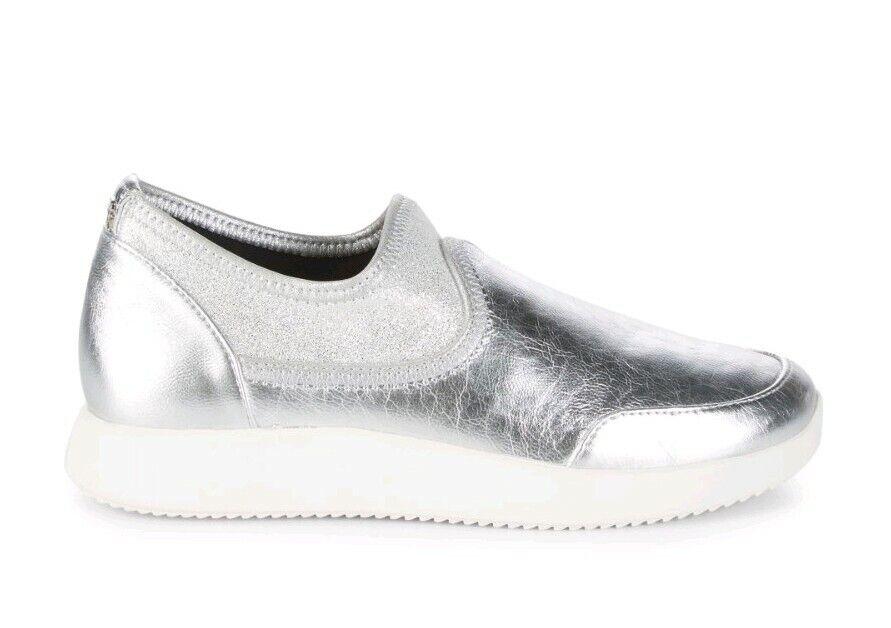 damenk Karan New York Gerri Slip-on Silber Foil Metallic Turnschuhe uk 7.5 eu 40.5  | Verschiedene