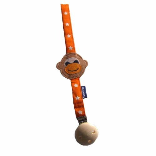 P Eisenherz Schnullerband orange Affe Schnullerhalter Holzclip Silikonring NEU