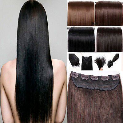One Piece Clip in Remy Human Hair Extensions Full Head Smooth Highlight US