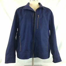 LL Bean Mens Blue Canvas Cotton Fleece Lined Winter Jacket Coat X-Large XL