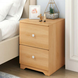 Assemble-Storage-Cabinet-Bedroom-Bedside-Table-Locker-Double-Drawer-Nightstand