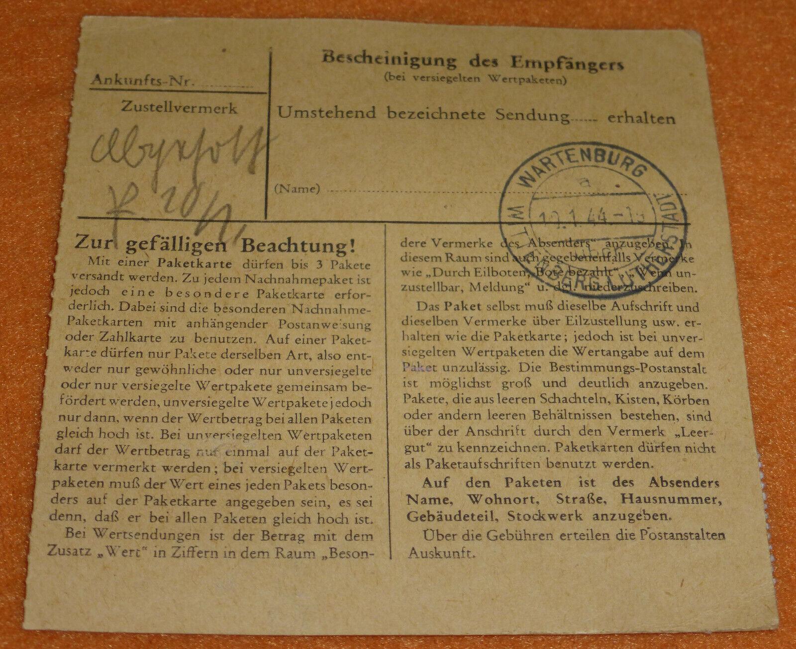 Empfehlung des Managers Zwangsarbeiterpost Paketkarte Wartenburg ...