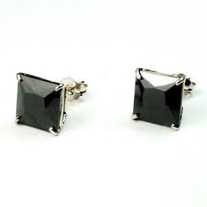 2ed000103 14k solid white gold natural square 6mm black onyx stud earrings ...
