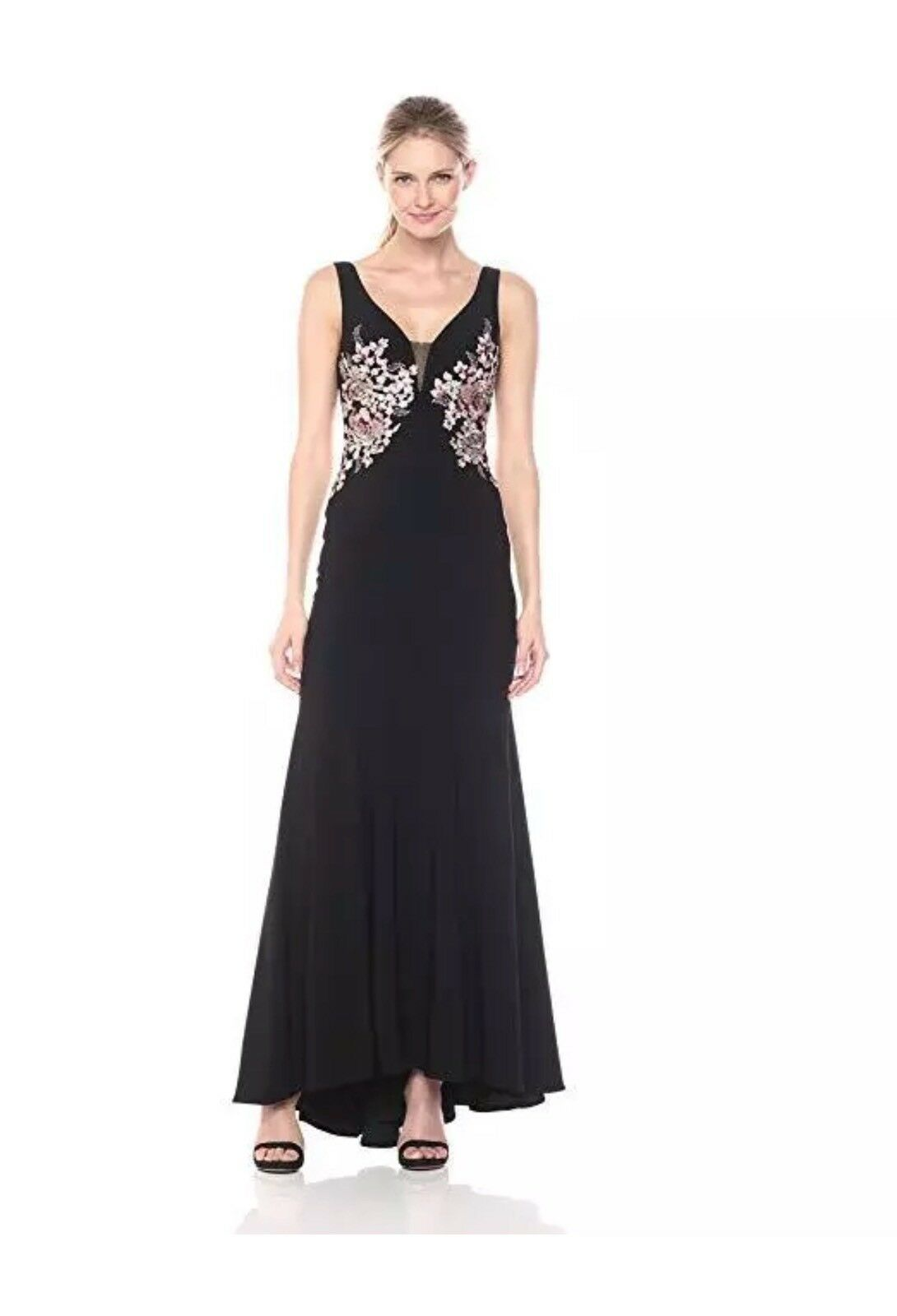 Xscape Embellished Floral Jersey Gown, Size 10