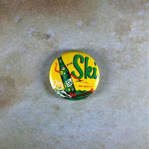 """Vintage  Style Advertising Art  Pinback Button  1/"""" Ski Soda Water Skiing Bottle"""