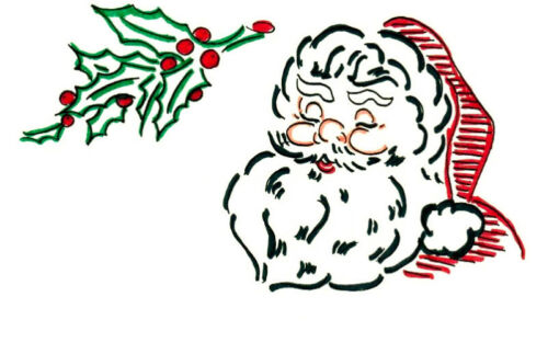 M208 Vintage Christmas Santa Towel DOW Embroidery HOT IRON Transfer