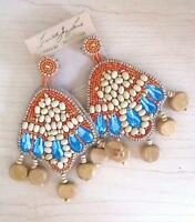 Kenneth Jay Lane Couture Wood Beaded Earrings Post