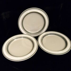 Lot of 3 Arabia Finland Salla Dinner Plate Gray Tan White Band Hand Painted 10in
