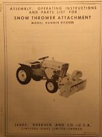 Sears Custom Xl Compact 6 7 8 Garden Tractor Snow Thrower Owner & Parts Manual