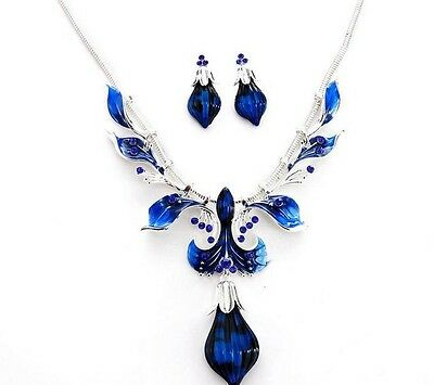 Blue Tear Drop Pendant Women Crystal Necklace Silver Plated New