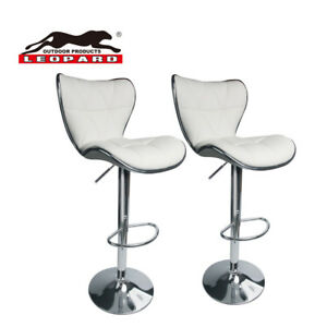 Details About Leopard Shell Back Adjule Swivel Bar Stools Pu Leather With Set Of 2