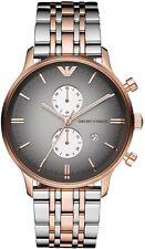 100% AUTHENTIC Emporio Armani Men's AR1721 Chronograph Rose Gold Silver Watch