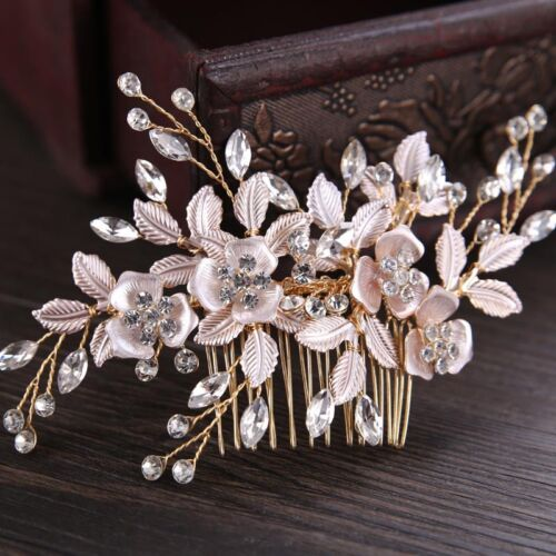 Fashion Alloy Leaves Flowers Wedding Hair Comb Crystal Bridal Hair Accessories