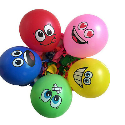 "100PCS/Lot 12"" Emoji Face Expression Latex Multicolor Colorful Balloons EV"