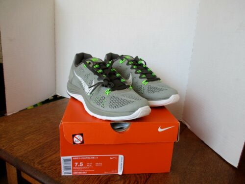 New with Box! NIKE LUNARGLIDE+5 Grey White Florescent Green Size 7.5