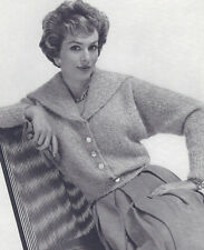 Vintage Knitting PATTERN to make Spread Collar Cable Cardigan Sweater SpreadColl