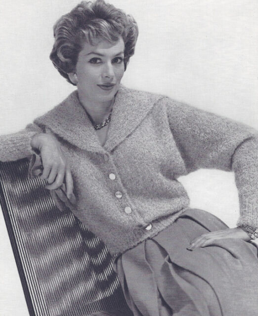 Vintage Knitting Pattern To Make Mohair Cardigan Sweater Spread Collar Mohaircol