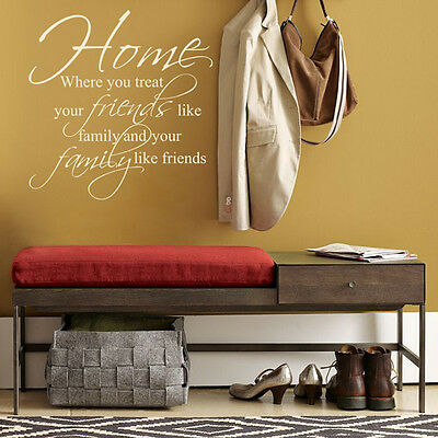 Home Friends Family Vinyl Wall Stickers- Quotes Art Mural-Decal Bedroom Lounge