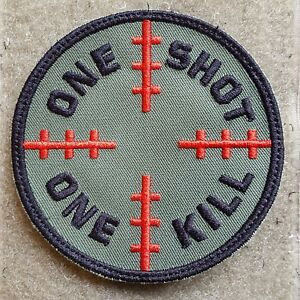 SNIPER ONE SHOT ONE KILL TACTICAL MORALE  AUFNÄHER KLETT PATCH OLIV ARMY AIRSOFT