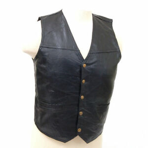 Genuine-Leather-Vest-Motorcycle-or-Dress-Inside-Chest-Pocket-2-Outside-Pockets
