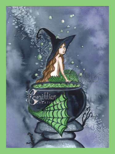 Bubbling Brew Witch Mermaid print from Original Painting By Grimshaw Halloween
