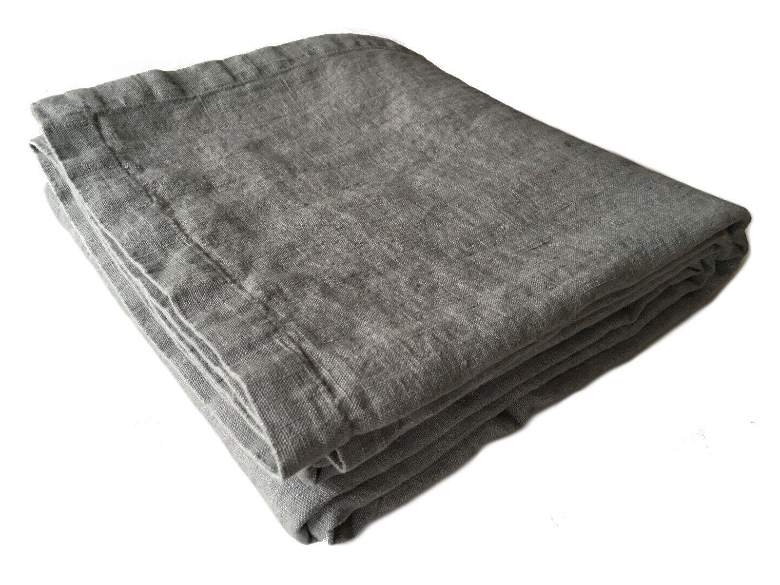 XXXL letto su lancio PLAID COPERTA  rasa  100% LINO 250 x 280 cm GRIGIO  Stonewashed