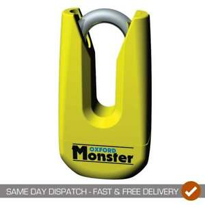 Oxford-Monster-Thatcham-Approved-Gold-Motorcycle-Motor-Bike-Disc-Lock-Yellow