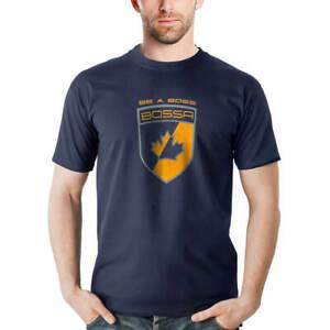 BOSSA Navy Blue Graphic Short Sleeve Cotton Work T-Shirt
