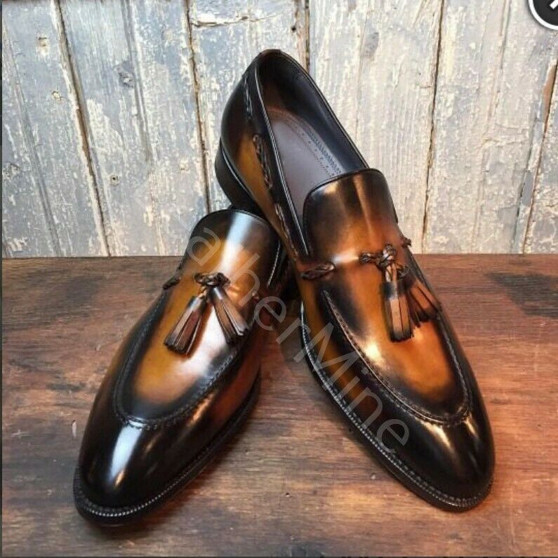 Men's New handmade leather tassel slip on patina loafers formal