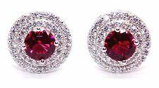 Sterling Silver Ruby & Diamond 3.12ct Stud Earring (925)