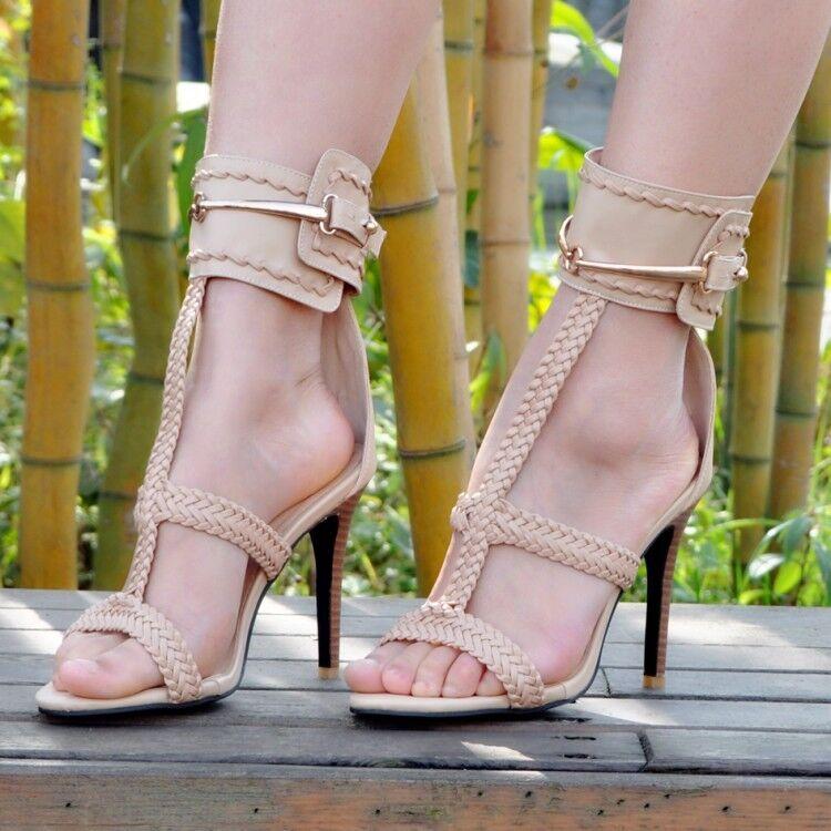 Femmes Slim High Heel Weave T-strap Ankle Strap Sandals Peep Toe Buckle chaussures