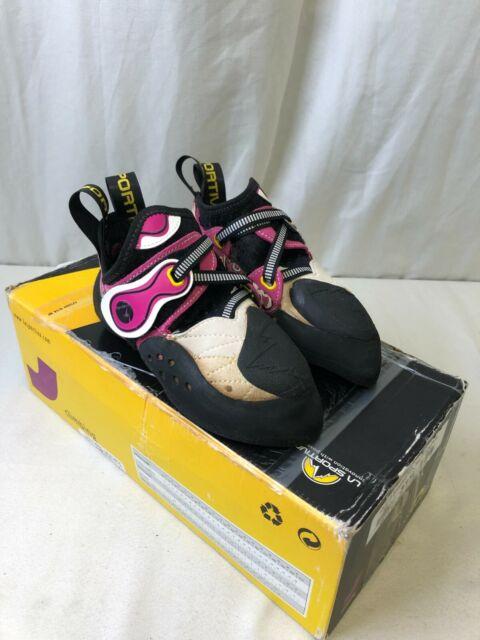 La Sportiva Women's Solution Climbing Shoes White/Pink Size 33.5 (US-W 3.5)