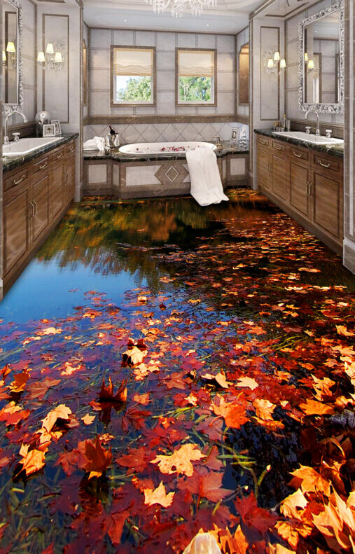 3D Fallen Leaves River Floor WandPapier Murals Wand Drucken Decal 5D AJ WandPapier
