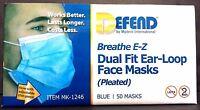 Defend Breathe E-z Dual Fit Ear-loop Face Masks Pleated Mk-1246 Blue 50 Masks