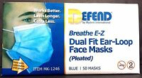 DEFEND Breathe E-Z Fit EarLoop Face Mask Pleated Blue Lot of 10 50 box MK 1246 Health Aids