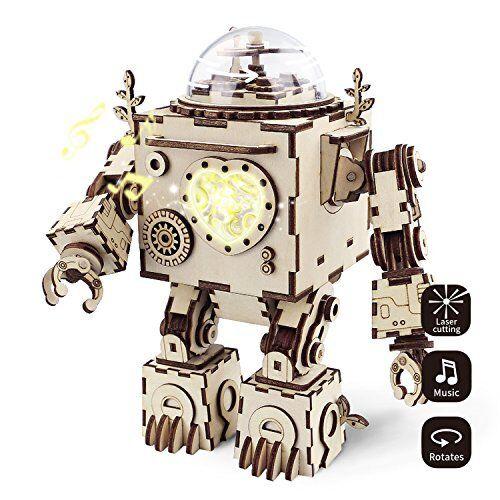 ROBOTIME 3D Laser Cut Wooden Puzzle - Adults Model Kits - Orpheus DIY Robot Musi