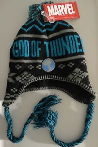 6c1be657d35 Thor God Of Thunder Beanie Laplander Pom Knit Hat Marvel Comics Nwt ...