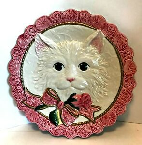 Fitz-and-Floyd-Kittens-amp-Roses-Canape-Plate-FF-Retired-8-5-inch-Diameter