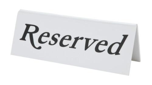 Réservé en plastique blanc signe restaurant pub bar table vaisselle signe