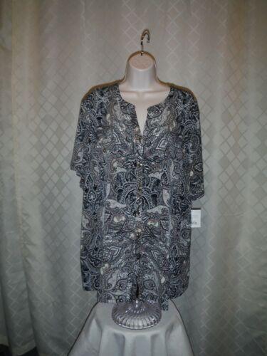 Size Plus Short Sleeve Button front  Blouses 3X,2X,1X,Croft /& Barrow Multi Color