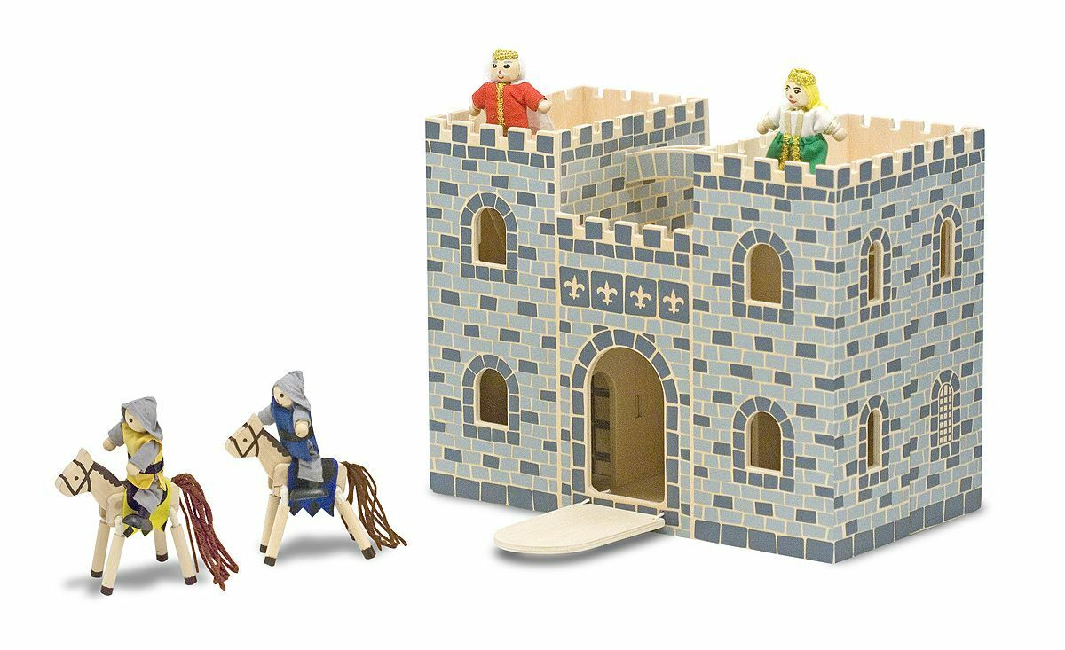 Melissa & Doug Grey Wooden Castle Dolls House Play Set NEW