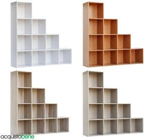 Mobili E Scaffalature Per Ufficio.Dettagli Su Mobile Libreria A Cubo Con 10 Vani Scaffale A Scala Per Casa E Ufficio