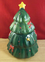 Christmas Tree Holiday Ceramic Cookie Jar Canister Storage Container M12